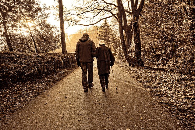 people-couple-elderly-walking